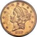 Liberty Double Eagles, 1857 $20 AU58 PCGS....