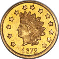 California Fractional Gold , 1872 $1 Indian Round Dollar, BG-1208, Low R.6, MS63 PCGS....