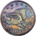 1855 P1C Flying Eagle Cent, Judd-172, Pollock-198, Low R.6 Brown -- Questionable Color -- PCGS Genuine. Unc Details. NGC...