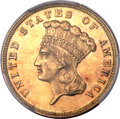 Three Dollar Gold Pieces, 1882 $3 Repunched Date, FS-301, MS62 PCGS....