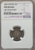 Coins of Hawaii , 1883 10C Hawaii Ten Cents -- Obverse Scratched -- NGC Details.Fine. NGC Census: (6/466). PCGS Population (20/772). Mintage...
