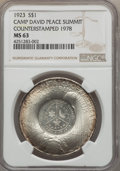Counterstamps, 1978 Camp David Peace Summit, Counterstamped 1923 Peace Dollar MS63 NGC....