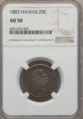 Coins of Hawaii , 1883 25C Hawaii Quarter AU50 NGC. NGC Census: (30/1123). PCGSPopulation (89/1575). Mintage: 242,600. ...