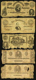 Confederate Notes:1864 Issues, T20 and More.. ... (Total: 5 notes)