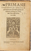 Books:Religion & Theology, [Pelagius, attributed]. [Primasius, Bishop of Hadrumentum].Primasii Uticensis in Africa Episcopi. Paris: Apud C...