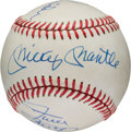 Baseball Collectibles:Balls, 1990's Joe DiMaggio, Mickey Mantle, Willie Mays & Duke SniderSigned Baseball....