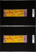 Baseball Collectibles:Tickets, 1956 World Series Game Five Full Tickets Lot of 2, SGCAuthentic--Don Larsen Perfect Game....