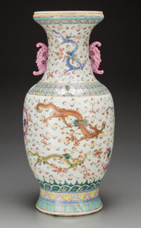 A Large Chinese Famille Rose Enameled Porcelain Dragon Vase, 19th century 23 inches high (58.4 cm)  PROP
