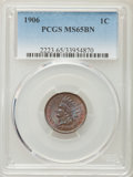 Indian Cents, 1906 1C MS65 Brown PCGS. PCGS Population (17/0). NGC Census: (57/5). Mintage: 96,022,256. Numismedia Wsl. Price for problem...