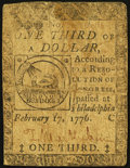 Colonial Notes:Continental Congress Issues, Continental Currency February 17, 1776 $1/3 Fine.. ...