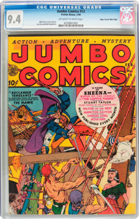 Jumbo Comics #12 Mile High Pedigree (Fiction House, 1940) CGC NM 9.4 Off-white to white pages
