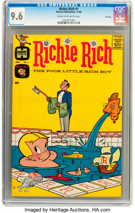 Richie Rich #1 File Copy (Harvey, 1960) CGC NM+ 9.6 Cream to off-white pages....