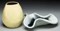 Ceramics & Porcelain, American:Modern  (1900 1949)  , Russel Wright (American, 1904-1976). Manta Ray Bowl andJug Vase #3, circa 1945, Bauer. Glazed stoneware. 9 inchesh... (Total: 2 Items)