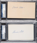 Baseball Collectibles:Others, 1940's Mel Ott & Jimmie Foxx Signed Index Cards Lot of 2. ...