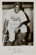 Baseball Collectibles:Photos, 1950's Jackie Robinson Signed Postcard. ...