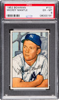 Baseball Cards:Singles (1950-1959), 1952 Bowman Mickey Mantle #101 PSA EX-MT 6....