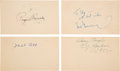 Baseball Collectibles:Others, 1950's Hornsby, Ott, Stengel and Greenberg Signed GovernmentPostcards (4)....