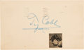 Baseball Collectibles:Others, Circa 1950 Ty Cobb Signed Government Postcard. ...