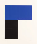 Prints, Ellsworth Kelly (1923-2015). Blue with Black I, 1974. Lithograph in colors on Arjomari paper. 42-1/2 x 37-1/4 inches (10...