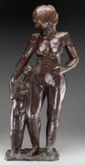 Bronze:European, David Cregeen (British, b. 1923). Mother and Child, 1985. Bronze with brown patina. 31 x 12 x 8-1/2 inches (78.7 x 30.5 ...