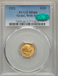Commemorative Gold, 1922 G$1 Grant Gold Dollar, With Star, MS66 PCGS. CAC....