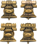 Football Collectibles:Others, 1960-63 Liberty Bowl Press Pins Lot of 4....