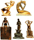 Books:Furniture & Accessories, [Bookends]. Group of Five Mismatched Metal Bookends DepictingNudes. Various makers and dates.... (Total: 5 Items)