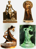 Books:Furniture & Accessories, [Bookends]. Group of Four Mismatched Metal Bookends Depicting Draped Figures. Various makers and dates.... (Total: 4 Items)