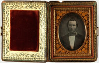 [Photography]. Ninth Plate Daguerreotype in Lovely Painted and Inlay Faux Book Style Case