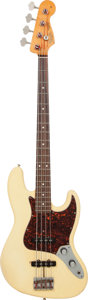 Musical Instruments:Bass Guitars, 1996 Fender Jazz Bass Olympic White Electric Bass Guitar, Serial #V092583....