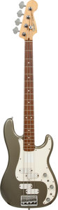 Musical Instruments:Bass Guitars, 1980's Fender Precision Bass Elite Pewter Electric Bass Guitar, Serial # E315741....