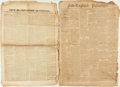 Books:Periodicals, [Newspapers]. Trio of Early Nineteenth-Century American Newspapers.Various publishers, 1813 - 1836.... (Total: 2 Items)