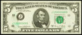 Error Notes:Ink Smears, Fr. 1972-J $5 1969C Federal Reserve Note. Gem Crisp Uncirculated.....