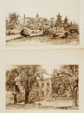 Books:Pamphlets & Tracts, James Fagan (1864-?), artist. Lot of Two Original Etchings Featuring The Homes of Walt Whitman and Charles Dickens.... (Total: 2 Items)