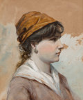 Fine Art - Painting, American:Antique  (Pre 1900), Robert Jenkins Onderdonk (American, 1853-1917). Portrait ofYoung Woman, 1883. Gouache on paper. 8-1/4 x 7 inches (21.0 ...