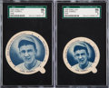 Baseball Cards:Lots, 1938 Dixie Lids Carl Hubbell Small/Large SGC Graded Pair (2). ...