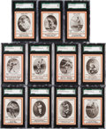 Baseball Cards:Sets, 1976 Motorola Baseball (Opaque) Very High Grade SGC Complete Set (11)....