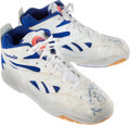 Basketball Collectibles:Others, 1993 Dennis Rodman Game Worn, Signed Detroit Pistons Shoes....