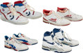 Basketball Collectibles:Others, Circa 1990 Detroit Pistons Stars Signed Game Worn Sneakers Lot of4....