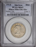 Errors: , 1979-D SBA$ Anthony Dollar--Minor Filled Die Obverse--MS62 PCGS....