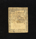 Colonial Notes:Continental Congress Issues, Continental Currency February 17, 1776 $1/2 Very Fine-ExtremelyFine. Technically graded VF-EF but with only a couple of lig...
