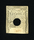 Colonial Notes:Connecticut, Connecticut June 1, 1780 40s Choice New. A very pleasing example ofthis hole cancelled Connecticut note that is rather well...