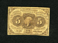 Fractional Currency:First Issue, Fr. 1230 5c First Issue Very Good. A small skin mark is found on the face, plus there is an approximate quarter inch edge te...