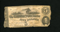 Confederate Notes:1862 Issues, T53 $5 1862. The left and right ends exhibit furling. Good....