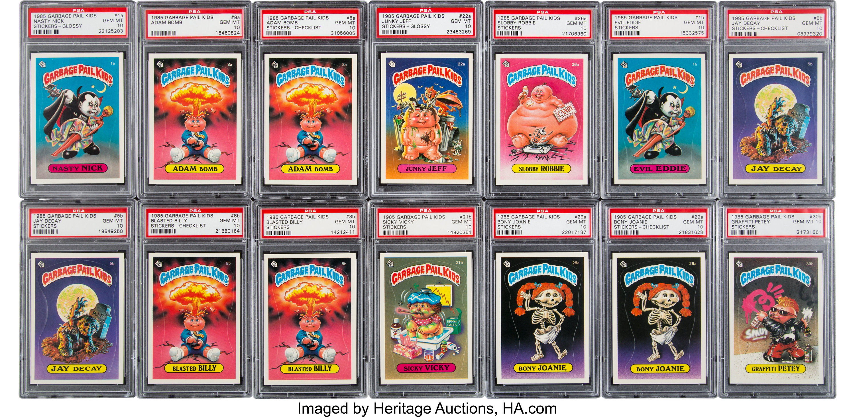 1985 Topps Garbage Pail Kids Psa Graded Complete Master Set 88 Lot 81548 Heritage Auctions