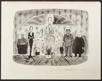 "The Addams Family by Charles Addams & Other Lot (1960s). Autographed Art Print (11"" X 14"") & One Sheet..."