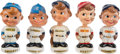 Baseball Collectibles:Others, 1961-62 Baseball White Base Miniature Nodders Lot of 5. ...