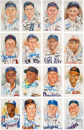 Autographs:Bats, 1980's Perez Steele Signed Hall of Fame Postcards Lot of 33....