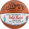 Olympic Collectibles:Autographs, 1991 World University Games Presentation Team Signed Basketball, Gold Medal & Plaque - Fischer Collection. ...