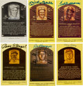 Baseball Collectibles:Others, 1980's-1990's Hall of Famers Signed Yellow Postcards Lot of 70....